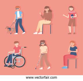 set of people disable, blind, walking and sitting characters