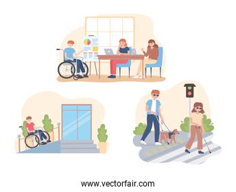 disabled people in different activity, working, walking