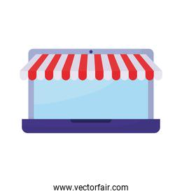 online store through a laptop on a white background