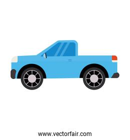 blue car over a white background