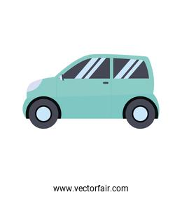 green car in a white background
