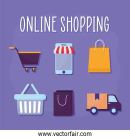 online shopping lettering and bundle of online store icons