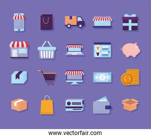 bundle of online store icons on a purple background