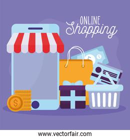 online shopping lettering and bundle of online store icons on a purple background