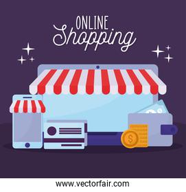 online shopping lettering and set of online store icons on a purple background
