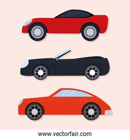 set of car icons on a pink background