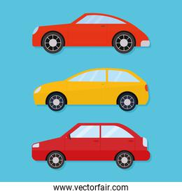 bundle of car icons on a blue background
