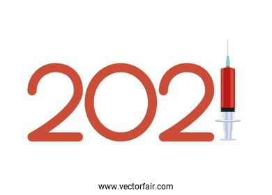 2021 year with covid19 vaccine syringe