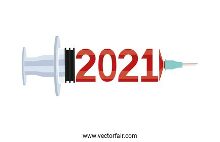 2021 year number in covid19 vaccine syringe