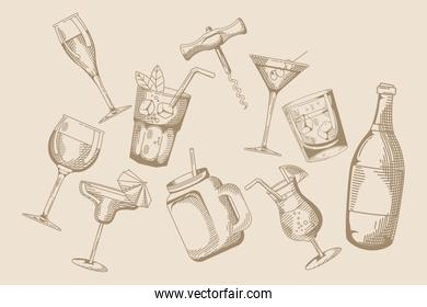 drinks and beverages pattern hand draw style icon