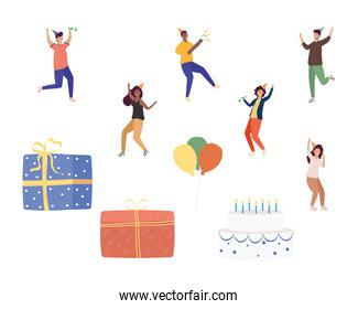 group of six persons celebrating birthday characters and set icons