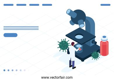 doctor with microscope and covid19 vaccine isometric icons
