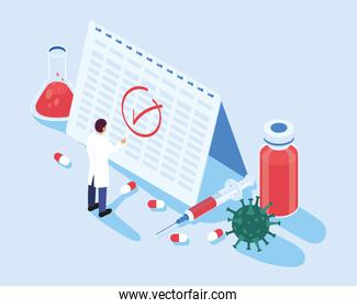 doctor with calendar and vaccine isometric icons
