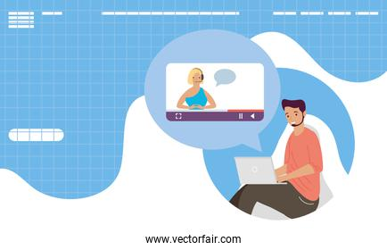 young man using laptop and video conference template online learning
