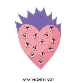 heart with eyes pattern esoteric isolated icon