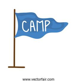 flag with camp word icon