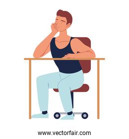 bored man sitting on the chair with desk, procrastination isolated design