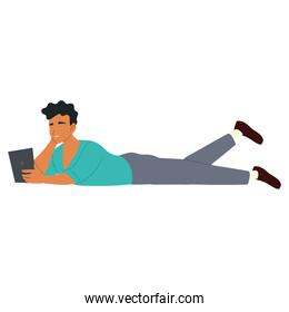 young man with smartphone lying on floor, procrastinating isolated design