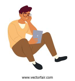 young man with tablet on the floor, procrastination isolated design
