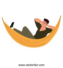 male resting in hammock, procrastinating isolated design
