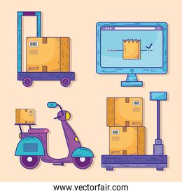 bundle of four delivery service icons