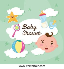 baby shower lettering in cloud with set icons