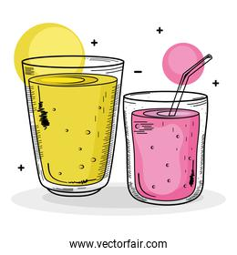 two drinks yellow and pink colors drawing icons