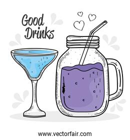 two drinks purple and blue colors drawing icons