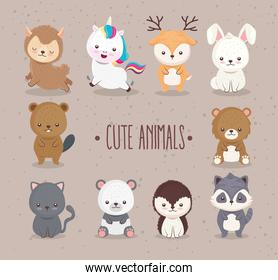 bundle of ten cute animals set icons and lettering