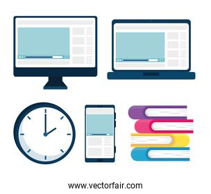 bundle of electronic devices and books
