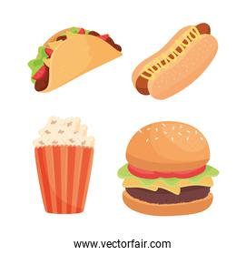 bundle of four fast food products icons