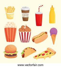 bundle of eleven fast food products icons
