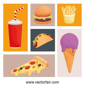 bundle of six fast food products icons
