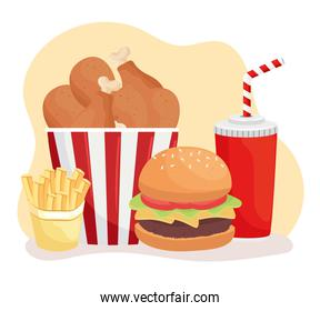 delicious fast food and soda icons