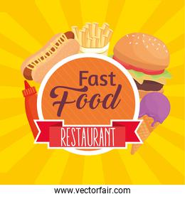 fast food lettering with set icons in circular frame