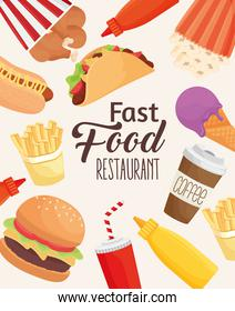 fast food lettering with set icons pattern