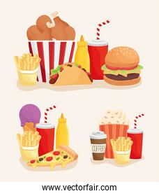 set of fast food products icons