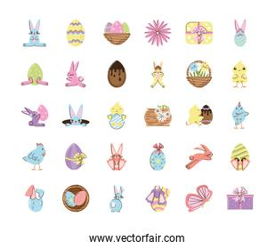 set easter rabbits eggs chicken flower basket gifts and butterfly icons