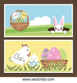 easter rabbit with flowers and chicken with eggs decoration