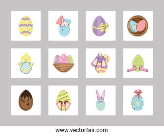 set happy easter celebration rabbit chicken egg and basket icons