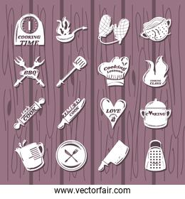 set with cooking icons such as spatula fork spoon knife grater pot pitcher