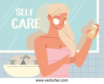 girl standing in bathroom holding lotion skincare in hand, self care