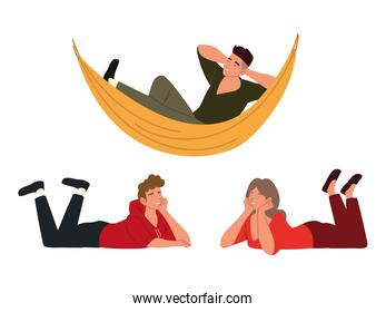procrastination, people resting and relaxed on the floor and hammock