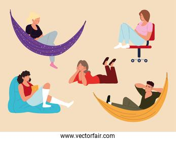 set people in hammock, floor with device and relaxing pose, procrastination