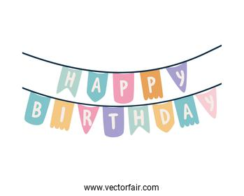 garland with happy birthday lettering on a white background