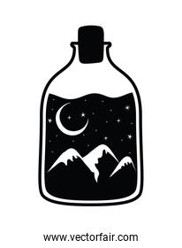 minimalist tattoo of a bottle with one landscape