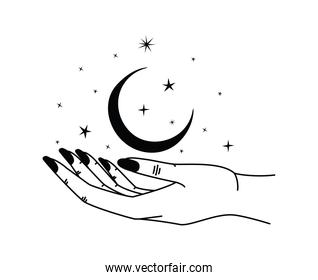 minimalist tatto of one hand holding a moon with stars