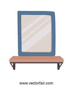 square mirror on a white background
