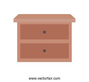 furniture with two drawers over a white background