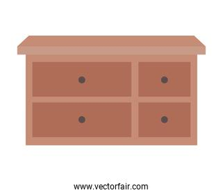 furniture with four drawers over a white background